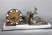 Sale 8654 - Lot 62 - Art Deco Mantle Clock Depicting a Lady on Marble Base (a.f.)