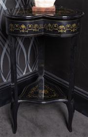 Sale 8761A - Lot 67 - An ebonised and gilt painted trefoil top occasional table H x 80cm W x 47cm