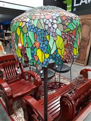 Sale 8769 - Lot 1025 - Leadlight Shade Standard Lamp