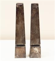 Sale 8855H - Lot 30 - A pair of Israeli 925 silver obelisk style candle holders. Height 19cm