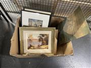 Sale 8941 - Lot 2050 - Box of Artworks incl Rodney Symmons - Yachts, oil on board, SLR