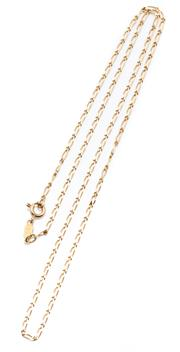 Sale 8991 - Lot 305 - AN ITALIAN 18CT GOLD CHAIN; long and short filed curb links to bolt ring clasp, length 50cm, wt. 4.22g.