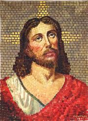 Sale 9021 - Lot 579 - Vito Giuffrida - Portrait of Jesus, 1935 51.5 x 35.5 cm (frame: 62 x 49 x 3 cm)