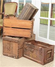 Sale 9060H - Lot 58 - Four timber packing crates together with a metal military example. Width of largest 51