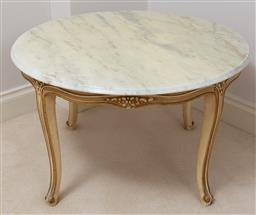 Sale 9140H - Lot 98 - A circular marble topped occasional table over four saber legs, Height 49cm Diameter 79cm, some damage to top