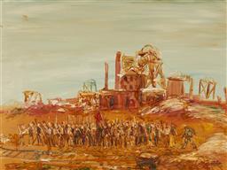 Sale 9161A - Lot 5043 - PAUL DELPRAT (1942 - ) Striking Miners oil on board 67 x 90 cm (frame: 84 x 107 x 4 cm) signed lower right. Bonython Art Gallery lab...