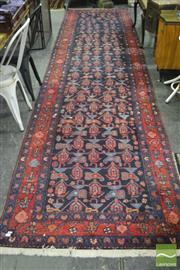 Sale 8345 - Lot 1003 - Persian Hamadan Wool Runner, with Boteh motifs on dark blue ground & red border (480 x 115cm)