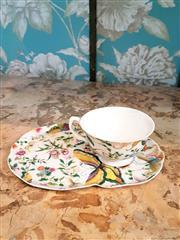 Sale 8500A - Lot 73 - A vintage style floral porcelain tennis set - Condition: As New - Measurements: saucer (23cm wide) x Standard tea cup size