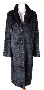 Sale 8550F - Lot 7 - A black ribbed single breasted rabbit fur 3/4 length coat, size M.