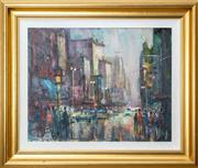 Sale 8568A - Lot 43 - Karlis Mednis - Melbourne Street Scene 48 x 62cm