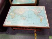 Sale 8601 - Lot 1140 - Glass Top Map of the World Coffee table