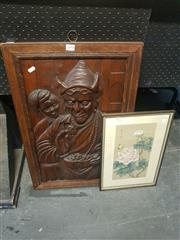 Sale 8650 - Lot 2090 - Wooden Panel Rudyard Kiplings Kim & Lama with an Oriental Picture (2)