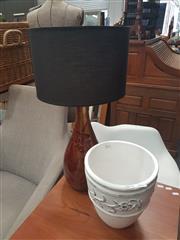 Sale 8676 - Lot 1117 - Ceramic Table Lamp & Planter (2)