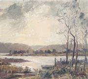 Sale 8838A - Lot 5117 - Dorothea (Dora) Elizabeth Toovey (1898 - 1986) - Narabeen Lake, 1958 34.5 x 39.5cm