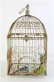 Sale 8905S - Lot 695 - A rustic bird cage featuring three faux budgies