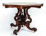 Sale 9015J - Lot 60 - An antique walnut centre table C: 1880. The figured walnut top with a double line of stringing to the black edge banding on a double...