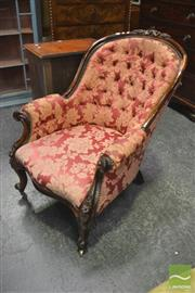 Sale 8345 - Lot 1011 - Good Victorian Carved Rosewood Armchair, with buttoned spoon back on cabriole legs