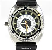 Sale 8402W - Lot 95 - NAC AQUADIVE TIME DEPTH DIVERS WATCH; model 50 in stainless steel with 2 tone dial, centre seconds, rotating bezel on an ESA Y2 9154...