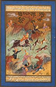 Sale 8592 - Lot 2022 - Indo-Persian School (2 works) - Hunting Scenes 22.5 x 14.5cm, each