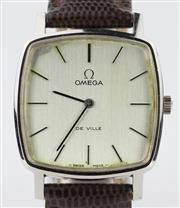 Sale 8655J - Lot 10 - AN OMEGA CUSHION FORM MANUAL WRISTWATCH; brushed dial, applied markers, 17 jewell cal. 625 movement no. 41670433, new leather band f...