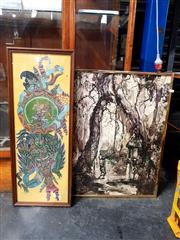 Sale 8674 - Lot 2098 - 2 Works: Balinese Framed Artworks