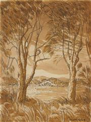 Sale 8865 - Lot 2046 - Herbert McClintock (1906 - 1985) - By the Shores of the Tuggerah Lakes, 1965 33 x 25cm