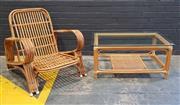 Sale 9022 - Lot 1023 - Pretzel Cane Armchair & Cane Table with Glass Top (H81 x W74 x D83cm)