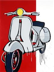 Sale 9042A - Lot 5030 - Jasper Knight (1978 - ) - Vespa Piaggio 1958 120 x 90 cm (frame: 123 x 92.5 x 5 cm)