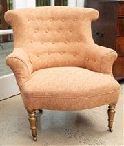 Sale 9060H - Lot 60 - A button back well upholstered bedroom chair over turned feet and castors. Height of back 84cm
