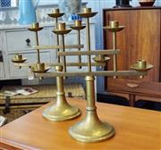 Sale 8320 - Lot 801 - Pair of brass table candelabra
