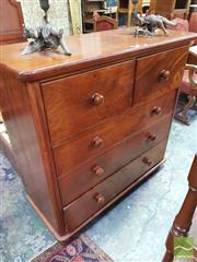 Sale 8416 - Lot 1065 - Late 19th Century Cedar Chest of Drawers, with two deep & three long drawers, on modern castors