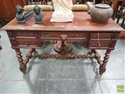 Sale 8416 - Lot 1094 - 19th Century French Carved Oak Desk, the centre drawer with lion mask handle, flanked by two short & faux double drawer, on barley t...
