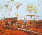 Sale 8519 - Lot 552 - Hugh Sawrey (1919 - 1999) - Repairing No.10 Bore, West QLD 49.5 x 59.5cm