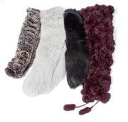 Sale 8550F - Lot 8 - Two cross-hatch rabbit fur scarfs in aubergine and ash, together with two collars.
