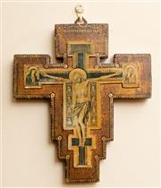 Sale 8882H - Lot 63 - An Icon of Christ on the cross, Height 25cm