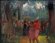 Sale 9021 - Lot 571 - József Prohászka (1886 - 1964) - Gathering in the Forest 36.5 x 46 cm (frame: 41 x 51 x 2 cm)