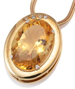 Sale 9123J - Lot 34 - A CITRINE AND DIAMOND PENDANT NECKLACE; 18ct gold pendant claw set with an oval cut citrine of approx. 28.00ct one corner set with 4...