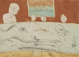 Sale 9161 - Lot 533 - JOHN OLSEN (1928 - ) Lucios, 2003 etching and aquatint, ed. 55/60 43 x 59 cm (frame: 89 x 103 x 3 cm) signed and dated lower right