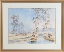 Sale 9155H - Lot 56 - W.A. Bingham, Evening blue on fineflower pastoral, watercolour, signed lower left, 54.5cm x 74cm