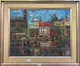 Sale 9152 - Lot 2010 - Elizabeth Dehle City Reflection, oil on board, frame: 39 x 47 cm, signed verso -