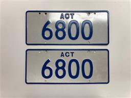 Sale 9157V - Lot 4 - ACT Number Plate 6800
