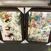 Sale 8640 - Lot 2081 - Pair of Chinese Artworks on Tiles Including Horses & Children