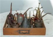 Sale 8745A - Lot 98 - A small group lot of antique oil canisters, small funnels and a brass water spray