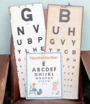 Sale 8795A - Lot 97 - Three vintage cardboard eyecharts