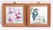 Sale 9070H - Lot 56 - Two framed tiles depicting orchid and kingfisher, frame size 13cm x 13cm