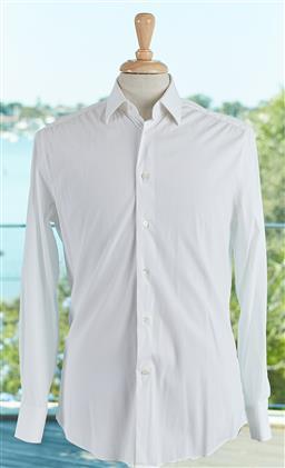 Sale 9120K - Lot 76 - A Louis Vuitton Paris white cotton button up long sleeve shirt, Size mens 38/15