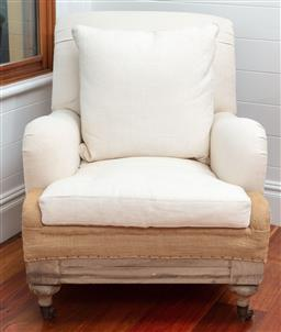 Sale 9134H - Lot 67 - A deconstructed linen upholstered armchair on castors, from the Ralph Lauren Home Range. Ex: The Country Trader Height of back 89cm ...
