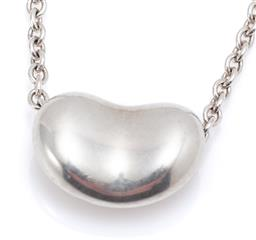 Sale 9169 - Lot 359 - A TIFFANY & CO SMALL BEAN PENDANT NECKLACE. pendant in sterling silver, 9mm wide, on a 41cm cable chain. wt. 2.46g.