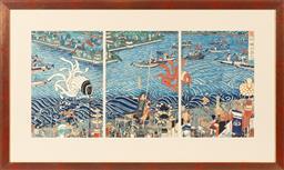 Sale 9170H - Lot 3 - After Ichieisai Yoshitsuya, The flooding of Takamatsu castle, woodblock print triptych, each 35cm x 24cm