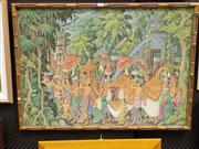 Sale 8417T - Lot 2009 - V. Darma (Balinese School) - Parade Scene (Ubud) 63.5 x 91cm